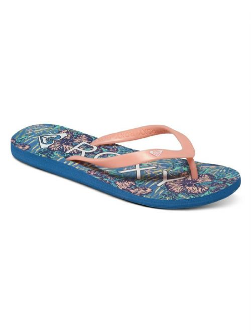 ROXY WOMENS FLIP FLOPS.NEW TAHITI BLUE/PEACH BEACH THONGS SANDALS 7S/132/BSF